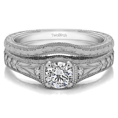 White Gold Three Stone Vintage Engraved Engagement Ring Bridal Set (2 Rings) (0.28 CT. TWT)
