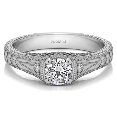 0.54 Ct. Round Three Stone Vintage Engraved Engagement Ring