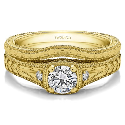 Yellow Gold Three Stone Vintage Engraved Engagement Ring Bridal Set (2 Rings) (0.28 CT. TWT)