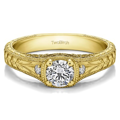0.54 Ct. Round Three Stone Vintage Engraved Engagement Ring in Yellow Gold