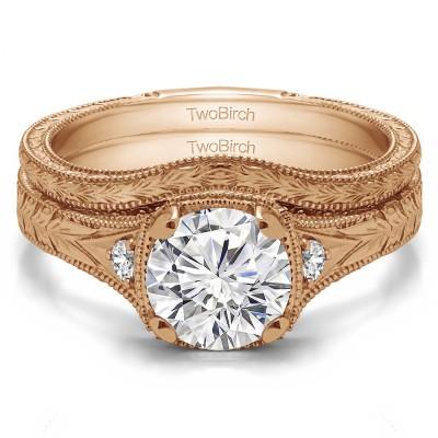 Three Stone Vintage Engraved Engagement Ring Bridal Set (2 Rings) (1.31 Ct. Twt.)