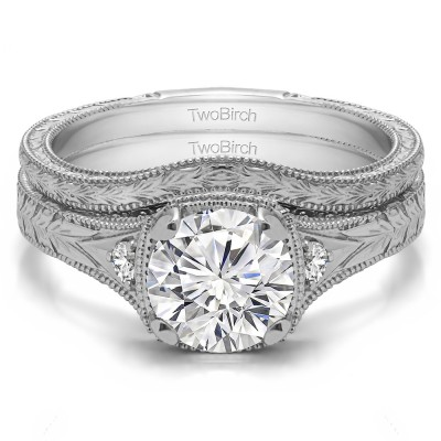 Three Stone Vintage Engraved Engagement Ring Bridal Set (2 Rings)(1.31 Ct. Twt.)