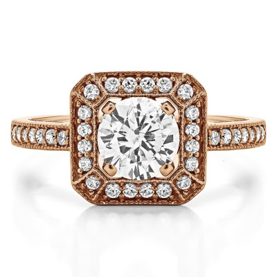 1.31 Ct. Large Square Shaped Halo Engagement Ring with Round Center in Rose Gold