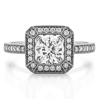 1.31 Ct. Large Square Shaped Halo Engagement Ring with Round Center