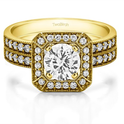 Millgrained Halo Engagement Ring Bridal Set (2 Rings) (1.48 Ct. Twt.)
