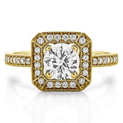 1.31 Ct. Large Square Shaped Halo Engagement Ring with Round Center in Yellow Gold