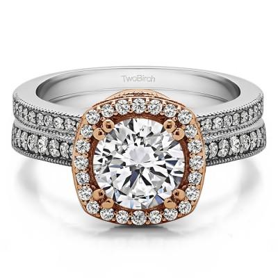 Round Vintage Halo Engagement Ring  Bridal Set (2 Rings) (1.99 Ct. Twt.)