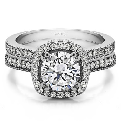Round Vintage Halo Engagement Ring  Bridal Set (2 Rings) (1.99 Ct. Twt.)