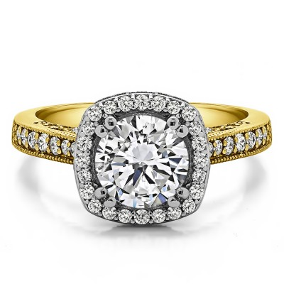 1.85 Ct. Round Vintage Halo Engagement Ring with Filigree Design in Two Tone Gold