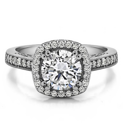 1.85 Ct. Round Vintage Halo Engagement Ring with Filigree Design
