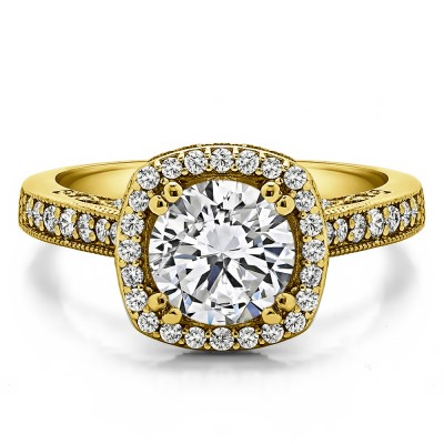 1.85 Ct. Round Vintage Halo Engagement Ring with Filigree Design in Yellow Gold