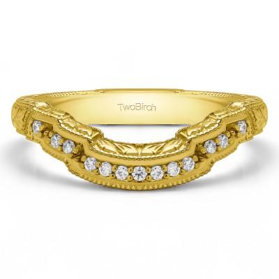 0.0975 Carat Scalloped Edge Matching Wedding Ring
