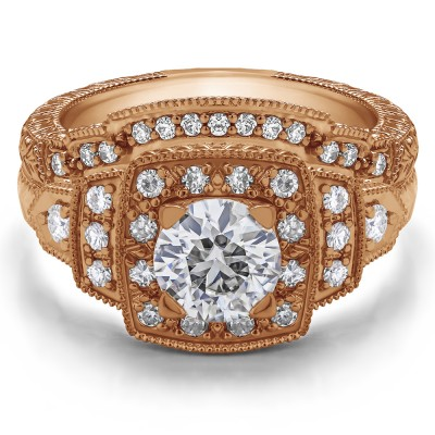 Vintage Halo Engagement Ring Bridal Set (2 Rings) (1.45 Ct. Twt.)
