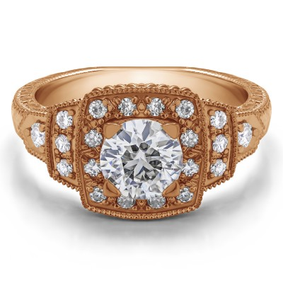 1.35 Ct. Round Millgrained Vintage Halo Engagement Ring in Rose Gold