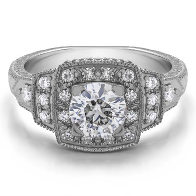 1.35 Ct. Round Millgrained Vintage Halo Engagement Ring