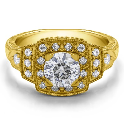 1.35 Ct. Round Millgrained Vintage Halo Engagement Ring in Yellow Gold