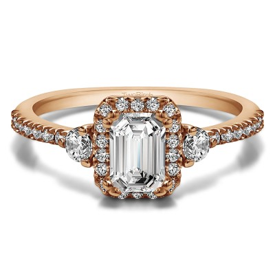 0.86 Ct. Emerald Halo Three Stone Engagement Ring in Rose Gold