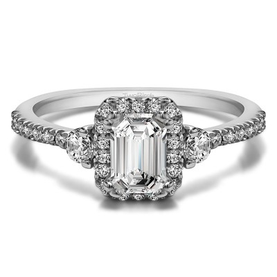 0.86 Ct. Emerald Halo Three Stone Engagement Ring With Cubic Zirconia Mounted in Sterling Silver (Size 5.25)