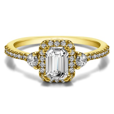 0.86 Ct. Emerald Halo Three Stone Engagement Ring in Yellow Gold