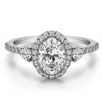Oval Three Stone Halo Engagement Ring in White Gold