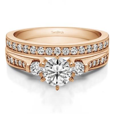 Traditional Three Stone Engagement Ring   Bridal Set (2 Rings) (0.98 Ct. Twt.)