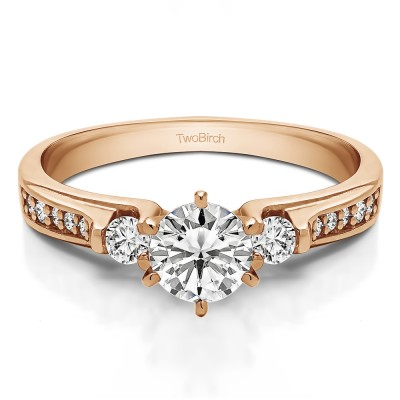 0.77 Ct. Round Three Stone Engagement Ring in Rose Gold