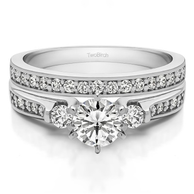 Traditional Three Stone Engagement Ring   Bridal Set (2 Rings) (0.98 Ct. Twt.)
