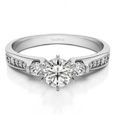 0.77 Ct. Round Three Stone Engagement Ring