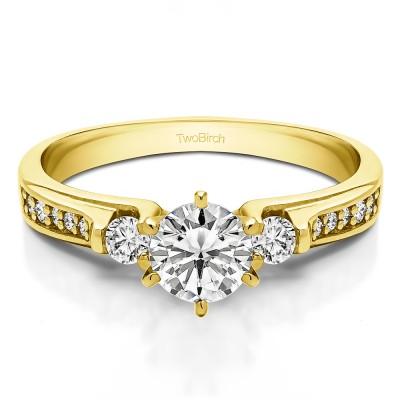0.77 Ct. Round Three Stone Engagement Ring in Yellow Gold