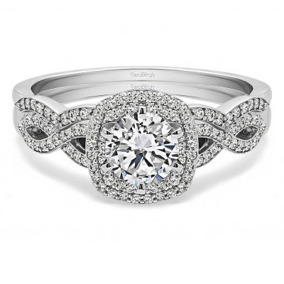 Infinity Halo Engagement Ring Bridal Set (2 Rings) (1.12 Ct. Twt.)