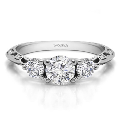 1.02 Ct. Knife Edged Round Three Stone Engagement Ring
