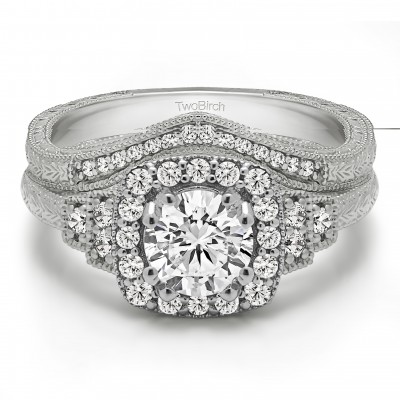 Round Vintage Halo Engagement Ring Bridal Set (2 Rings) (1.39 Ct. Twt.)
