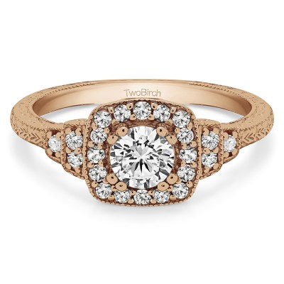 0.79 Ct. Round Vintage Halo Engagement Ring with Engraved Shank and Millgraining in Rose Gold