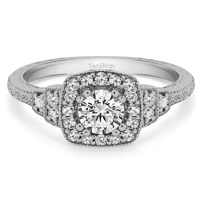 0.79 Ct. Round Vintage Halo Engagement Ring with Engraved Shank and Millgraining