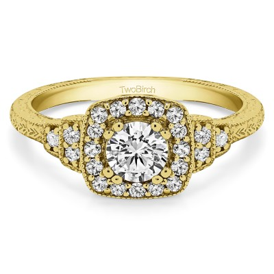 0.79 Ct. Round Vintage Halo Engagement Ring with Engraved Shank and Millgraining in Yellow Gold