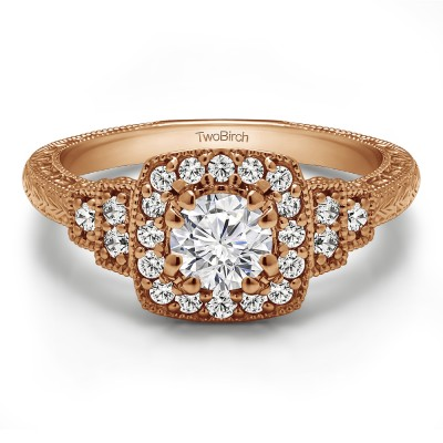 1.09 Ct. Round Vintage Halo Engagement Ring with Engraved Shank and Millgraining in Rose Gold