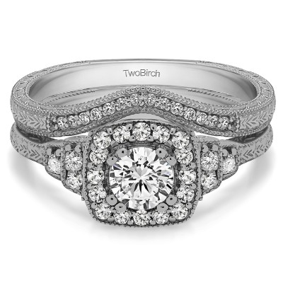 Round Vintage Halo Engagement Ring Bridal Set (2 Rings) (0.86 Ct. Twt.)
