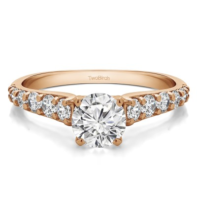 1.7 Ct. Round Graduated Engagement Ring in Rose Gold