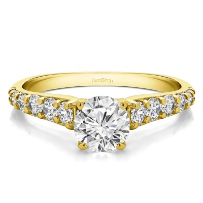 1.7 Ct. Round Graduated Engagement Ring in Yellow Gold
