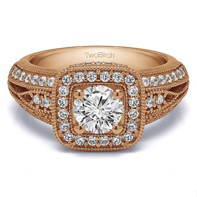 1.35 Ct. Round Vintage Halo Engagement Ring with Millgrained Edges in Rose Gold