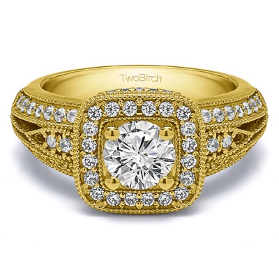 1.35 Ct. Round Vintage Halo Engagement Ring with Millgrained Edges in Yellow Gold