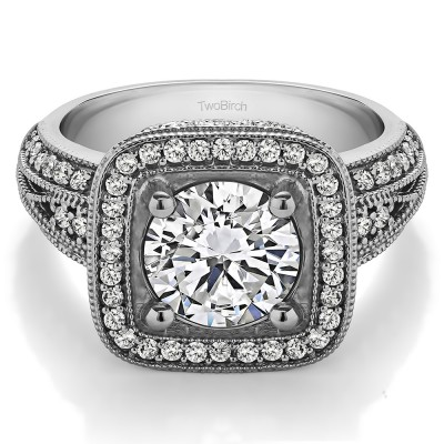 4.22 Ct. Round Vintage Halo Engagement Ring with Millgraining