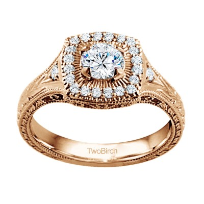 0.74 Ct. Engraved Vintage Square Shaped Halo Engagement Ring with Round Center in Rose Gold