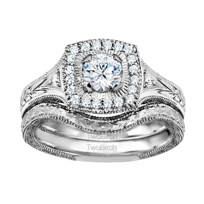 Round Engraved Vintage Halo Engagement Ring Bridal Set (2 Rings) (0.74 Ct. Twt.)
