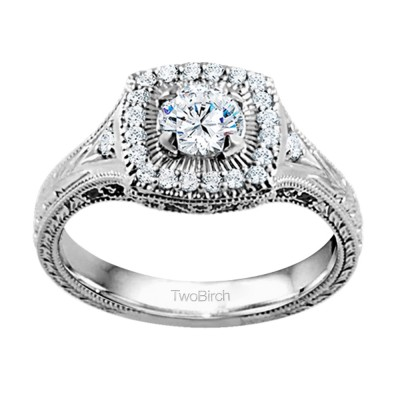 0.74 Ct. Engraved Vintage Square Shaped Halo Engagement Ring with Round Center