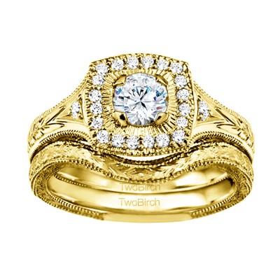 Round Engraved Vintage Halo Engagement Ring Bridal Set (2 Rings) (0.74 Ct. Twt.)