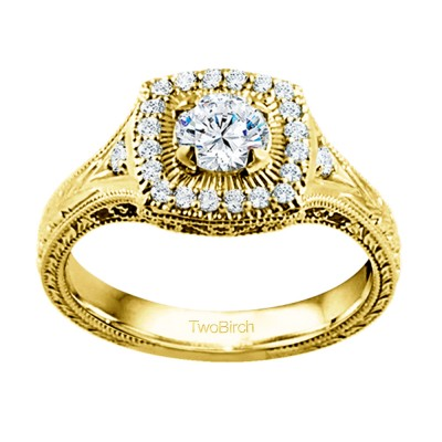 0.74 Ct. Engraved Vintage Square Shaped Halo Engagement Ring with Round Center in Yellow Gold