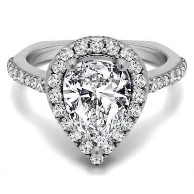 Traditional Pear Shaped Halo Engagement Ring in White Gold