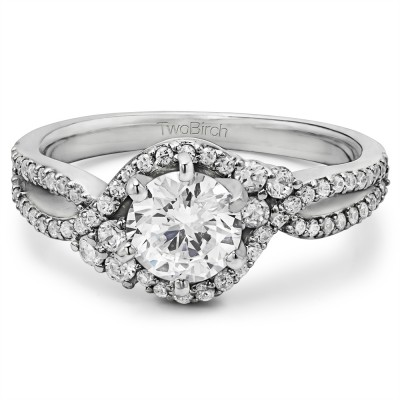 1.18 Ct. Round Bypass Halo Engagement Ring With Cubic Zirconia Mounted in Sterling Silver (Size 7)