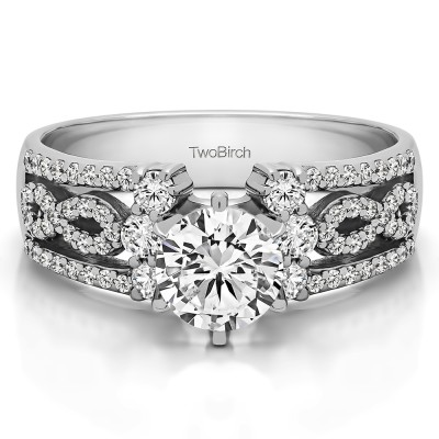 1.55 Ct. MARQUISE Engagement Ring with Infinity Shank With Cubic Zirconia Mounted in Sterling Silver (Size 7.5)